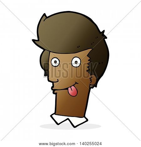 cartoon man with tongue hanging out