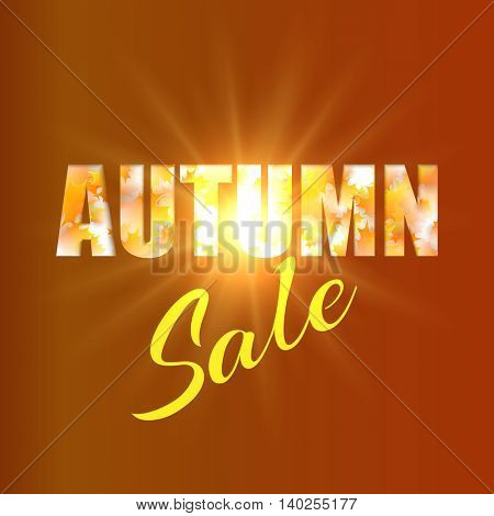 Autumn sale background with yellow maple leaves and sun. Vector illustration.
