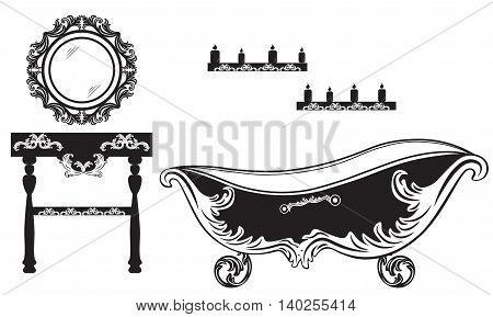 Rich Baroque Rococo bathroom set. French Luxury rich carved ornaments furniture. Vector Victorian exquisite Style decor