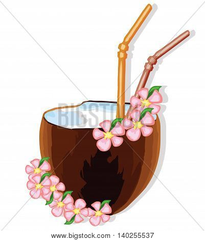 exotic coconut cocktail with flowers . Vector