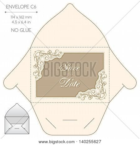 Envelope template with die cut. No glue. Retro style design with lace frame.