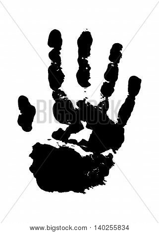 Human grunge handprint with skin texture isolated on white background. The left palm. Vector illustration.