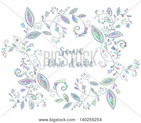 Blue greeting or save the date card with floral element and inscription in doodle style.