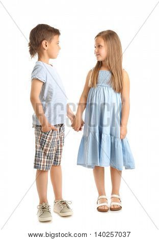 Small friendly kids, isolated on white