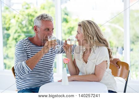 Mature couple drinking white wine while sitting at restaurant