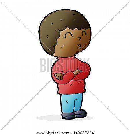 cartoon boy with folded arms