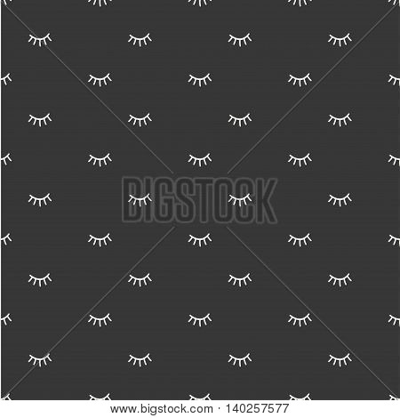Hand drawn seamless pattern with close eyes. Wrapping paper. Vector background. Casual texture. Illustration. Bohemian style. Tribal print. Ethnic doodle art elements. Eye pattern.