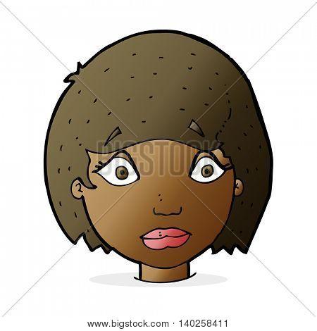 cartoon worried female face