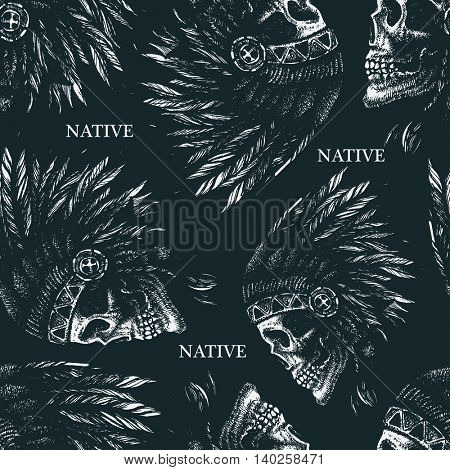 skull indian chief hand drawing style seamless background vector illustration