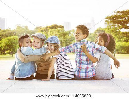 Young Children Friends Diverse Concept