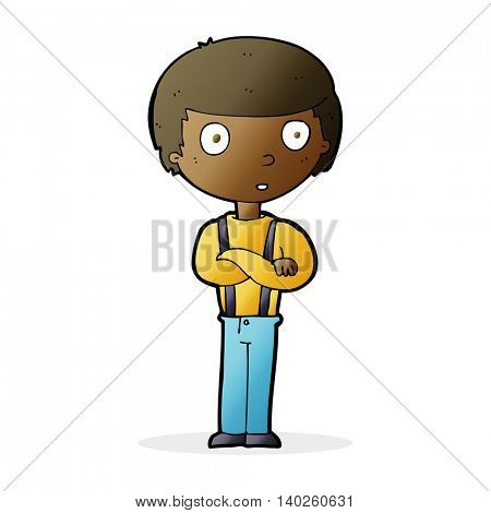 cartoon staring boy with folded arms