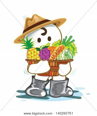 Planter with fruit and vegetable in basket have pineapple grapes oranges carrots lettuce cabbage Cartoon cute acting design isolate on white background