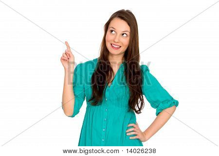 Woman pointing up