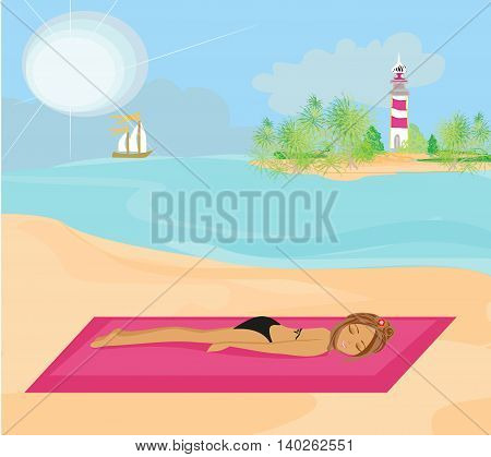 summer on the beach young girl , vector illustration