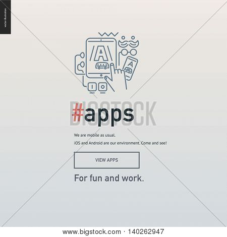 App development block website template - contemporary flat vector icon of application design development and a corresponding text and button layout on light background, for design studio website