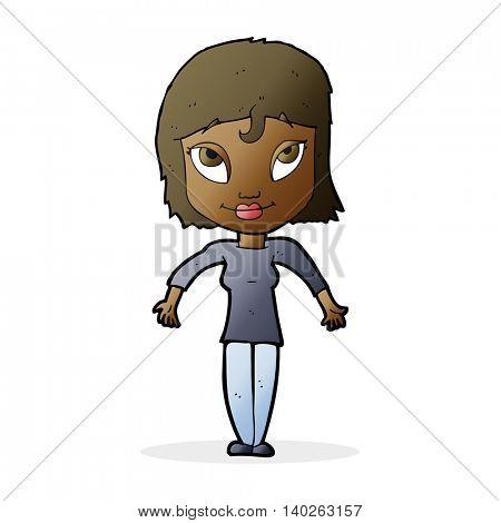 cartoon girl shrugging shoulders