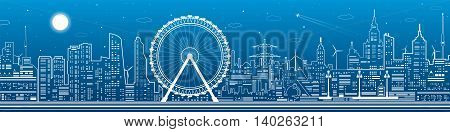 Panorama of the city. Ferris wheel, office buildings, town nightlife, neon lines, vector design art