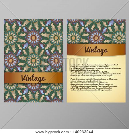 Vintage Cards With Mandala Pattern And Ornaments. Vector Flyer Oriental Design Layout Template Islam