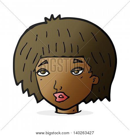 cartoon bored looking woman