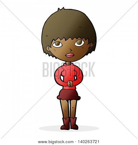 cartoon woman waiting patiently