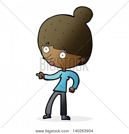 cartoon woman pointing