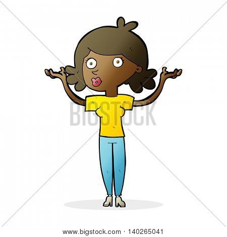 cartoon woman throwing arms in air