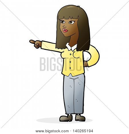 cartoon pretty woman pointing