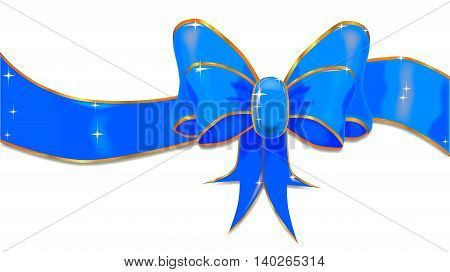 A large blue for a boy silk ribbon tied into a bow with sparkles.