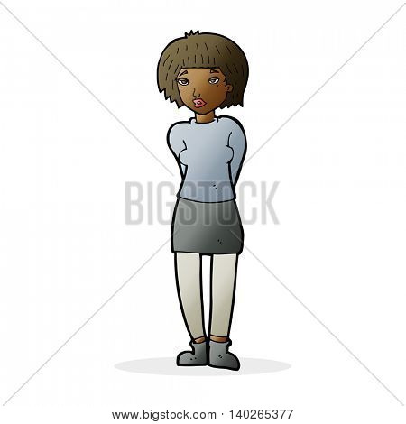 cartoon shy woman