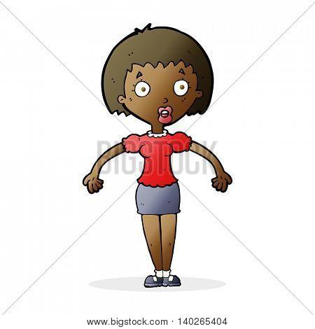 cartoon confused woman shrugging shoulders
