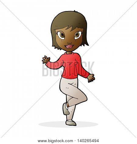 cartoon pretty woman waving