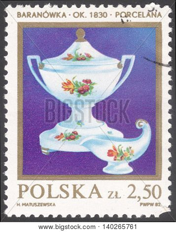 MOSCOW RUSSIA - CIRCA FEBRUARY 2016: a post stamp printed in POLAND shows a tureen and a sauce dish the series