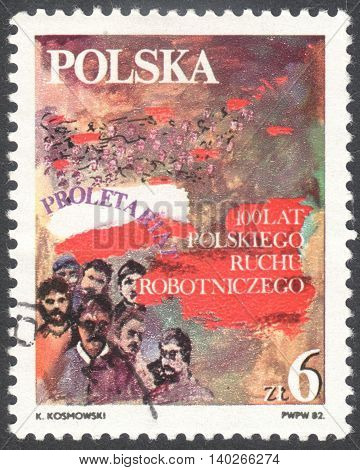 MOSCOW RUSSIA - CIRCA JANUARY 2016: a post stamp printed in POLAND devoted to Labour Movement circa 1982