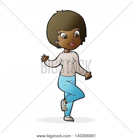 cartoon woman waving