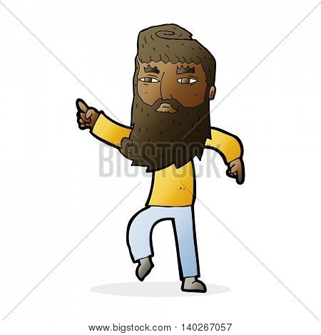 cartoon bearded man pointing the way
