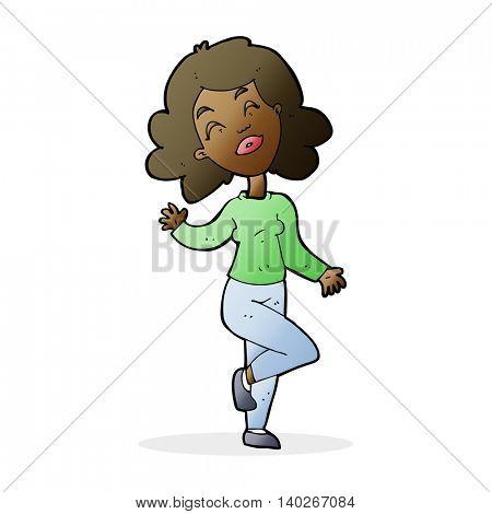 cartoon happy woman dancing