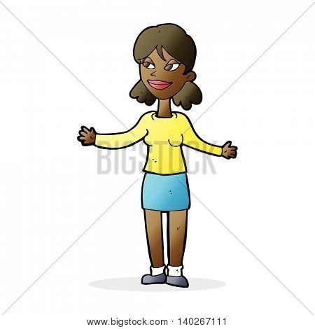 cartoon happy woman shrugging shoulders