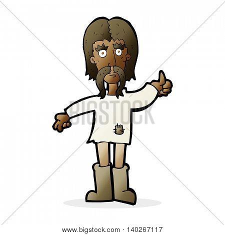 cartoon hippie man giving thumbs up symbol