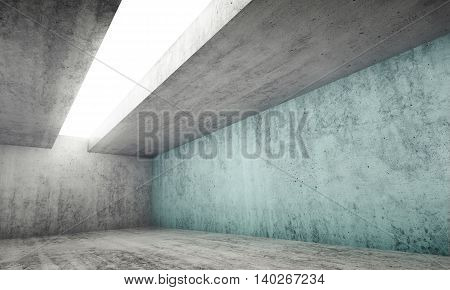3D Empty Gray Concrete Room With Blue Wall
