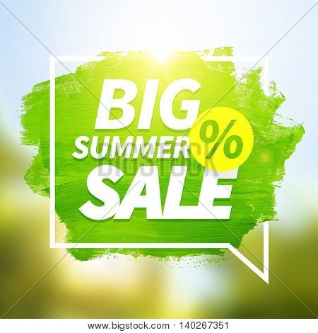 Green hand paint artistic dry brush stroke with business text in speech bubble on blurred background. Big summer sale background