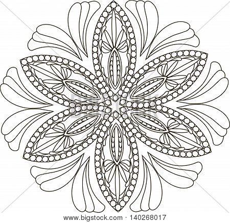 Zentangl stylised flower, black and white vector illustration