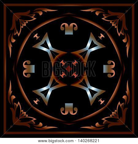 Abstract symmetrical decor in bronze monogram pattern on the black background of the elements of geometric shapes in a square frame