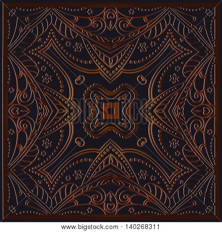 Abstract symmetrical decor brown color embossed on the dark background of interwoven lines pattern in a square frame