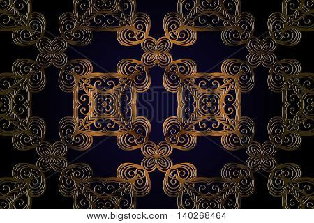 Vector vintage pattern in Eastern style. Abstract symmetrical decor brown color embossed