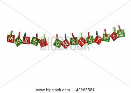 Decoration for Christmas with hanging letters and some candies