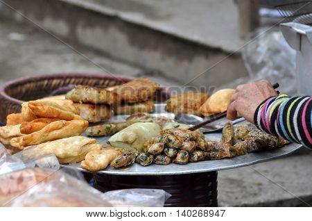 Portion of spring rolls in Vietnam. Street food