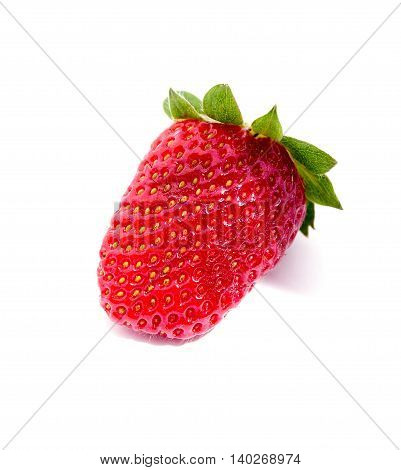 Single fresh strawberry isolated on white background