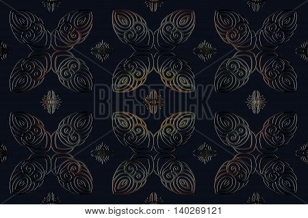 Seamless abstract floral pattern on a dark blue background of the elements of geometric figures