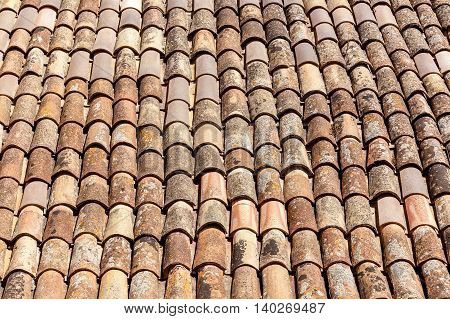 Traditional roofing with clay ceramic tilesRoofing tile
