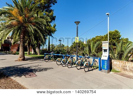 Spain Palm de Mallorca of June 20 Bicycles for hire in the sunny alley June 20 2016 in Palm de Mallorka Spain